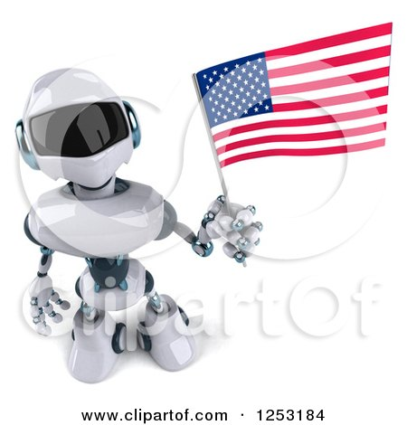 Clipart of a 3d White and Blue Robot Holding an American Flag 2 - Royalty Free Illustration by Julos