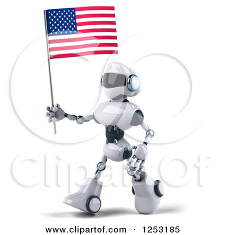 Clipart of a 3d White and Blue Robot Walking with an American Flag - Royalty Free Illustration by Julos