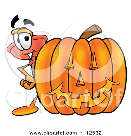 Clipart Picture of a Sink Plunger Mascot Cartoon Character With a Carved Halloween Pumpkin by Toons4Biz