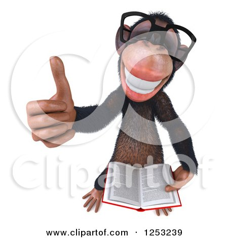 Clipart of a 3d Bespectacled Chimpanzee Holding a Thumb up and Reading a Book - Royalty Free Illustration by Julos