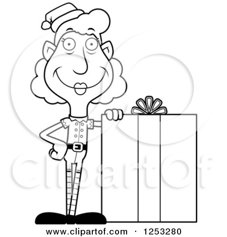 Clipart of a Black and White Happy Grandma Christmas Elf with a Big Gift - Royalty Free Vector Illustration by Cory Thoman