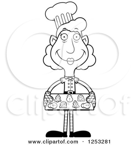 Clipart of a Black and White Happy Grandma Christmas Elf Baking Cookies - Royalty Free Vector Illustration by Cory Thoman