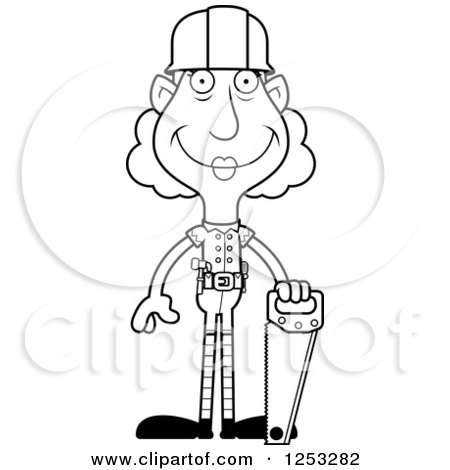 Clipart of a Black and White Happy Grandma Christmas Elf Builder with Tools - Royalty Free Vector Illustration by Cory Thoman