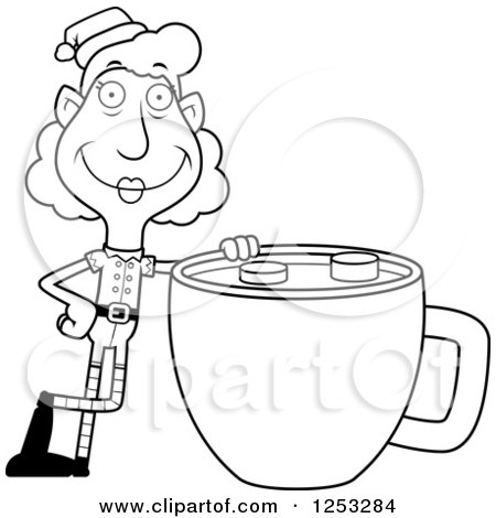 Clipart of a Black and White Happy Grandma Christmas Elf with a Giant Cup of Hot Chocolate - Royalty Free Vector Illustration by Cory Thoman