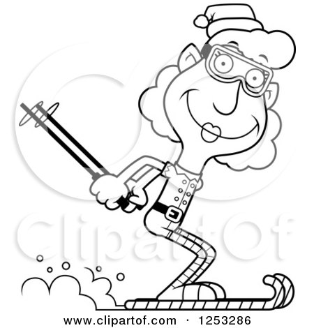 Clipart of a Black and White Happy Grandma Christmas Elf Skiing - Royalty Free Vector Illustration by Cory Thoman