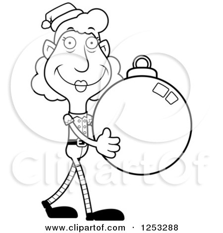 Clipart of a Black and White Happy Grandma Christmas Elf Carying a Bauble Ornament - Royalty Free Vector Illustration by Cory Thoman