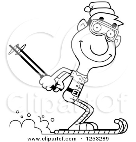 Clipart of a Black and White Happy Man Christmas Elf Skiing - Royalty Free Vector Illustration by Cory Thoman