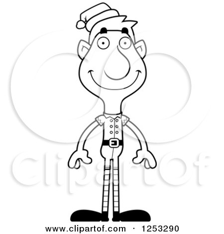 Clipart of a Black and White Happy Man Christmas Elf - Royalty Free Vector Illustration by Cory Thoman