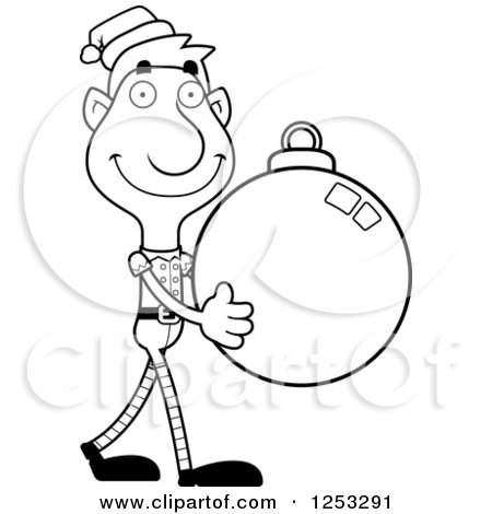Clipart of a Black and White Happy Man Christmas Elf Carying a Bauble Ornament - Royalty Free Vector Illustration by Cory Thoman