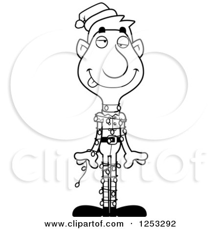 Clipart of a Black and White Man Christmas Elf Tangled in Lights - Royalty Free Vector Illustration by Cory Thoman