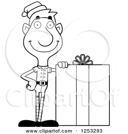 Clipart of a Black and White Happy Man Christmas Elf with a Big Gift - Royalty Free Vector Illustration by Cory Thoman