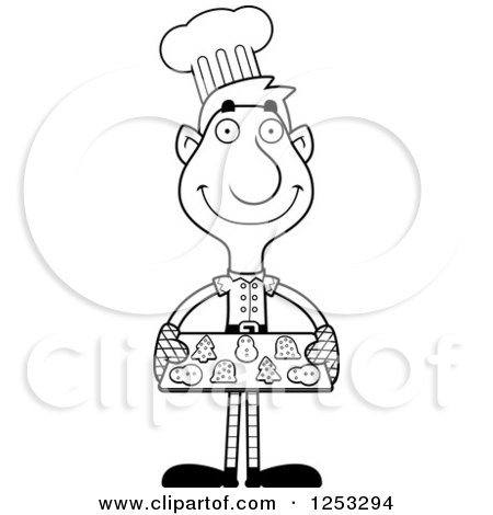 Clipart of a Black and White Happy Man Christmas Elf Baking Cookies - Royalty Free Vector Illustration by Cory Thoman
