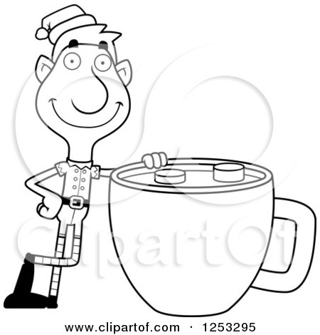 Clipart of a Black and White Happy Man Christmas Elf with a Giant Cup of Hot Chocolate - Royalty Free Vector Illustration by Cory Thoman