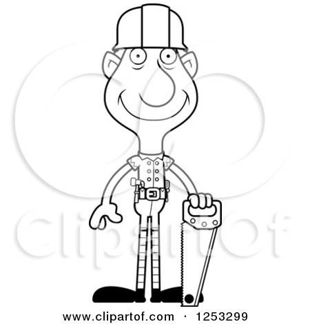 Clipart of a Black and White Happy Grandpa Christmas Elf Builder - Royalty Free Vector Illustration by Cory Thoman