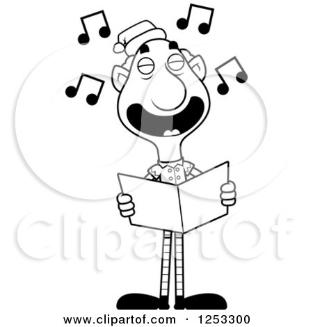 Clipart of a Black and White Happy Grandpa Christmas Elf Singing Carols - Royalty Free Vector Illustration by Cory Thoman