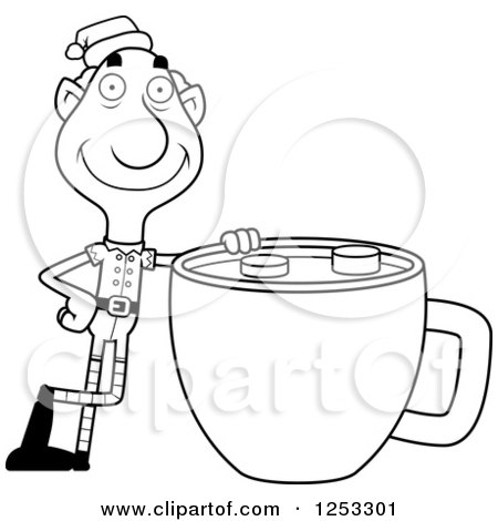 Clipart of a Black and White Happy Grandpa Christmas Elf with a Giant Hot Chocolate - Royalty Free Vector Illustration by Cory Thoman