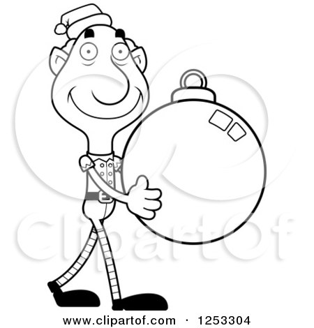 Clipart of a Black and White Happy Grandpa Christmas Elf Carrying a Bauble Ornament - Royalty Free Vector Illustration by Cory Thoman