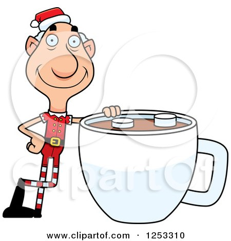 Clipart of a Happy Grandpa Christmas Elf with a Giant Hot Chocolate - Royalty Free Vector Illustration by Cory Thoman