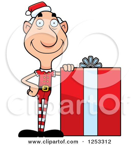 Clipart of a Happy Grandpa Christmas Elf with a Big Gift - Royalty Free Vector Illustration by Cory Thoman