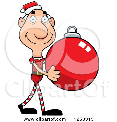 Clipart of a Happy Grandpa Christmas Elf Carrying a Bauble Ornament - Royalty Free Vector Illustration by Cory Thoman