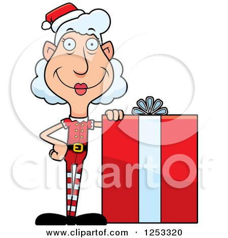 Clipart of a Happy Grandma Christmas Elf with a Big Gift - Royalty Free Vector Illustration by Cory Thoman