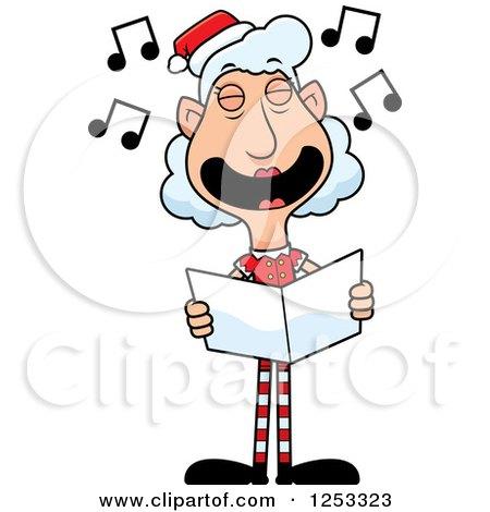 Clipart of a Happy Grandma Christmas Elf Singing Carols - Royalty Free Vector Illustration by Cory Thoman