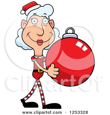 Clipart of a Happy Grandma Christmas Elf Carying a Bauble Ornament - Royalty Free Vector Illustration by Cory Thoman