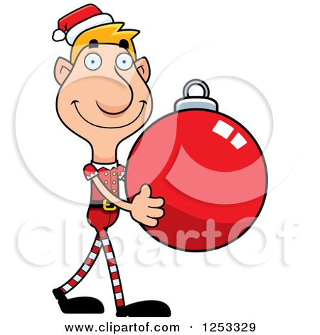 Clipart of a Happy Man Christmas Elf Carying a Bauble Ornament - Royalty Free Vector Illustration by Cory Thoman