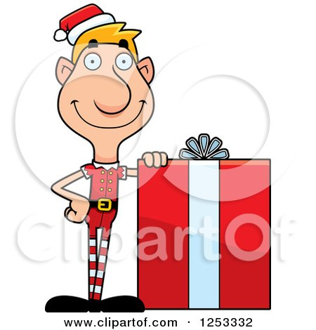 Clipart of a Happy Man Christmas Elf with a Big Gift - Royalty Free Vector Illustration by Cory Thoman