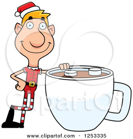 Clipart of a Happy Man Christmas Elf with a Giant Cup of Hot Chocolate - Royalty Free Vector Illustration by Cory Thoman