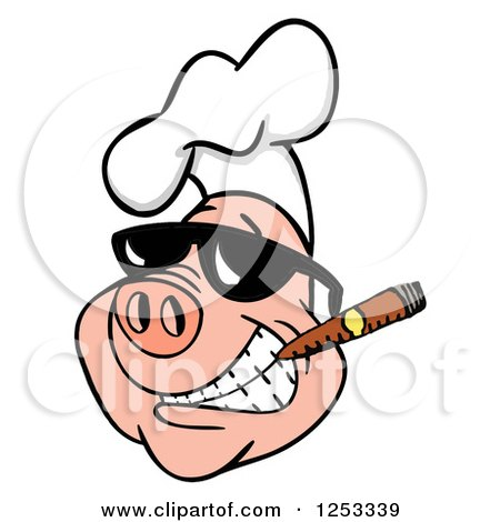 Clipart of a Grinning Pig in a Chefs Hat and Sunglasses, Smoking a Cigar - Royalty Free Vector Illustration by LaffToon