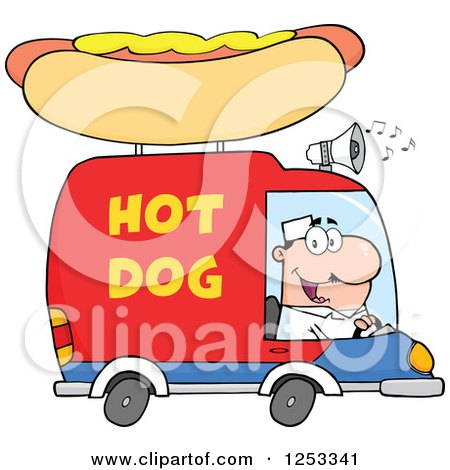 Clipart of a White Man Driving a Hot Dog Food Vendor Truck - Royalty Free Vector Illustration by Hit Toon