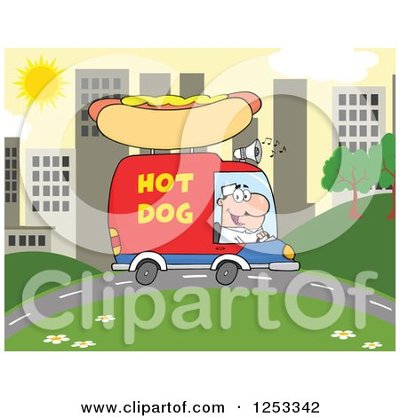Clipart of a White Man Driving a Hot Dog Food Vendor Truck in a City - Royalty Free Vector Illustration by Hit Toon