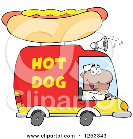 Clipart of a Black Man Driving a Hot Dog Food Vendor Truck - Royalty Free Vector Illustration by Hit Toon