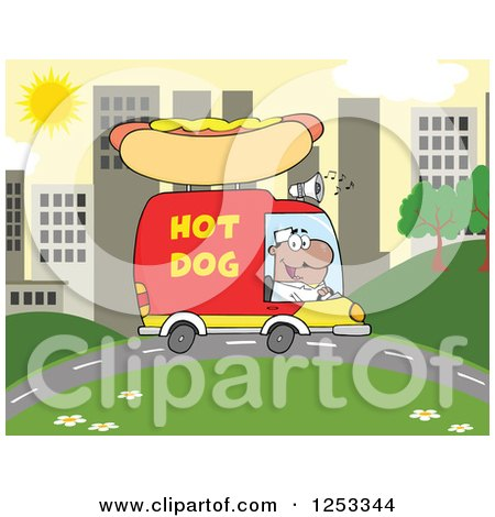 Clipart of a Black Man Driving a Hot Dog Food Vendor Truck in a City - Royalty Free Vector Illustration by Hit Toon