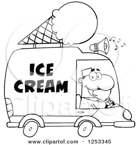Clipart of a Black and White Man Driving an Ice Cream Food Vendor Truck - Royalty Free Vector Illustration by Hit Toon