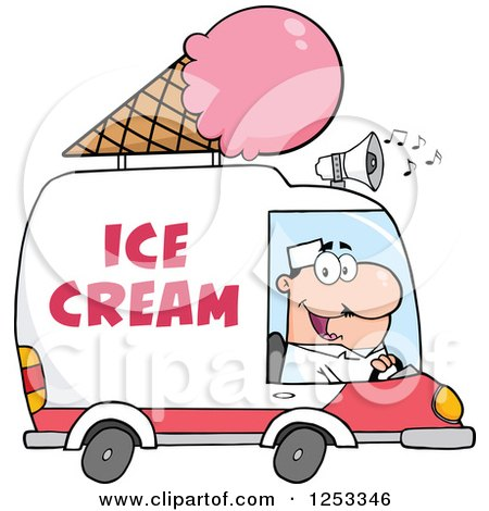 Clipart of a White Man Driving an Ice Cream Food Vendor Truck - Royalty Free Vector Illustration by Hit Toon