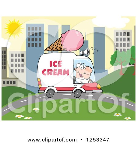 Clipart of a White Man Driving an Ice Cream Food Vendor Truck in a City - Royalty Free Vector Illustration by Hit Toon
