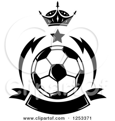 Clipart of a Black and White Soccer Ball with a Crown Star and Banner - Royalty Free Vector Illustration by Vector Tradition SM