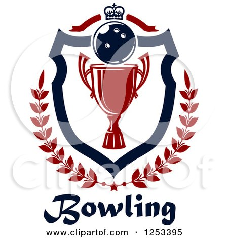 Clipart of a Bowling Ball and Championship Trophy Shield with a Crown and Laurel over Text - Royalty Free Vector Illustration by Vector Tradition SM