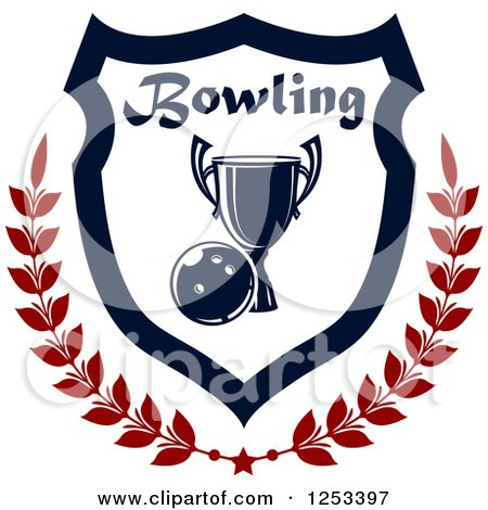 Clipart of a Bowling Ball and Championship Trophy Shield with a Laurel and Text - Royalty Free Vector Illustration by Vector Tradition SM