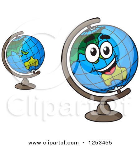 Clipart of Happy Desk Globes - Royalty Free Vector Illustration by Vector Tradition SM
