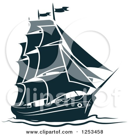 Clipart of a Navy Blue Ship - Royalty Free Vector Illustration by Vector Tradition SM