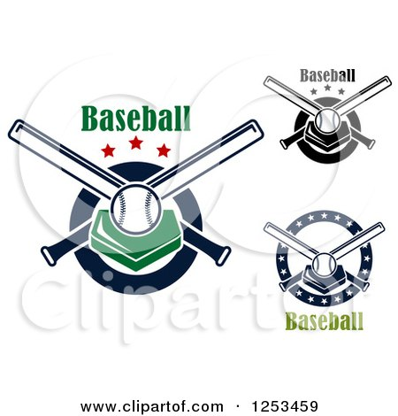 Clipart of Baseballsplates and Crossed Bats with Text - Royalty Free Vector Illustration by Vector Tradition SM