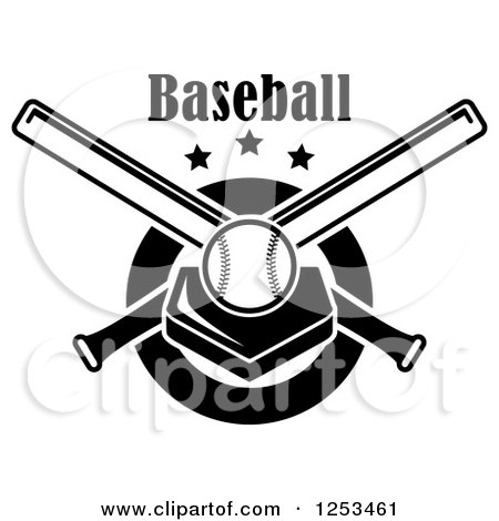 Clipart of a Black and White Baseball on a Plate with Crossed Bats and Text - Royalty Free Vector Illustration by Vector Tradition SM