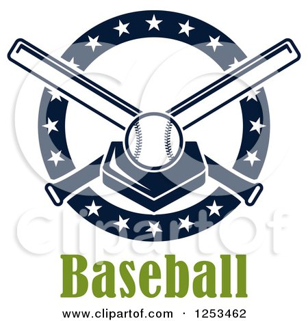 Clipart of a Baseball on a Plate with Crossed Bats and Text - Royalty Free Vector Illustration by Vector Tradition SM