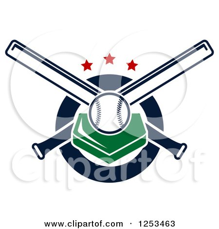 Clipart of a Baseball on a Plate with Crossed Bats and Stars - Royalty Free Vector Illustration by Vector Tradition SM
