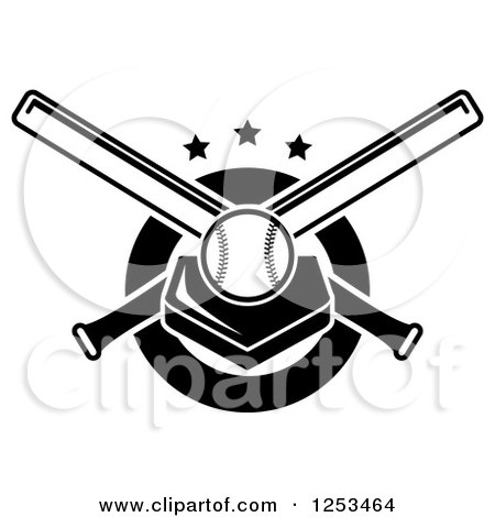 Clipart of a Black and White Baseball on a Plate with Crossed Bats and Stars - Royalty Free Vector Illustration by Vector Tradition SM