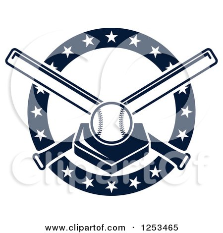 Clipart of a Navy Blue Baseball on a Plate with Crossed Bats and Stars - Royalty Free Vector Illustration by Vector Tradition SM