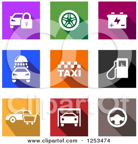 Clipart of Colorful Square Automotive Icons - Royalty Free Vector Illustration by Vector Tradition SM